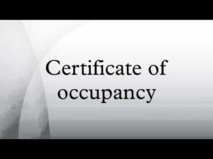 English cert of occupancy