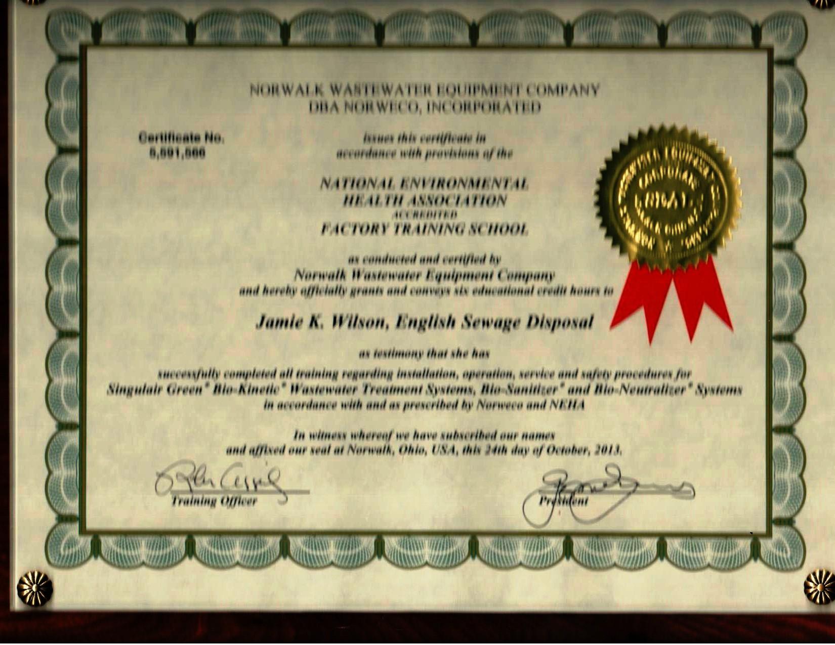 J. Wilson 10.24.13 NORWECO Certified