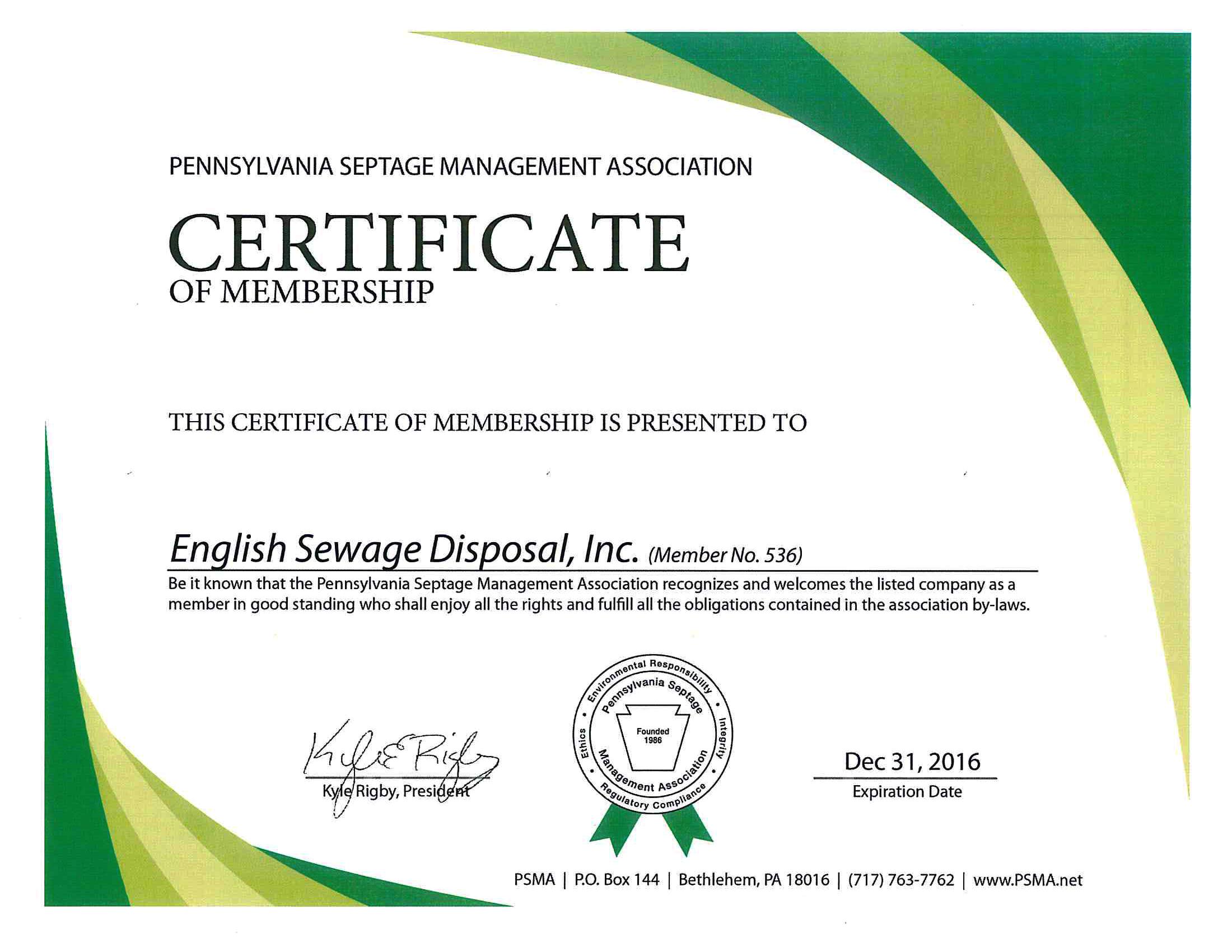PSMA Member Cert