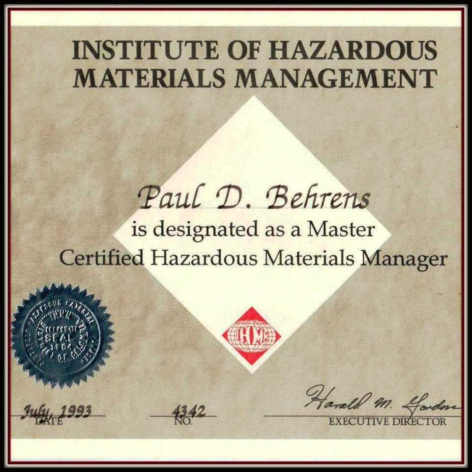P. Behrens 1993 Master Certified Haz Mat Mgr