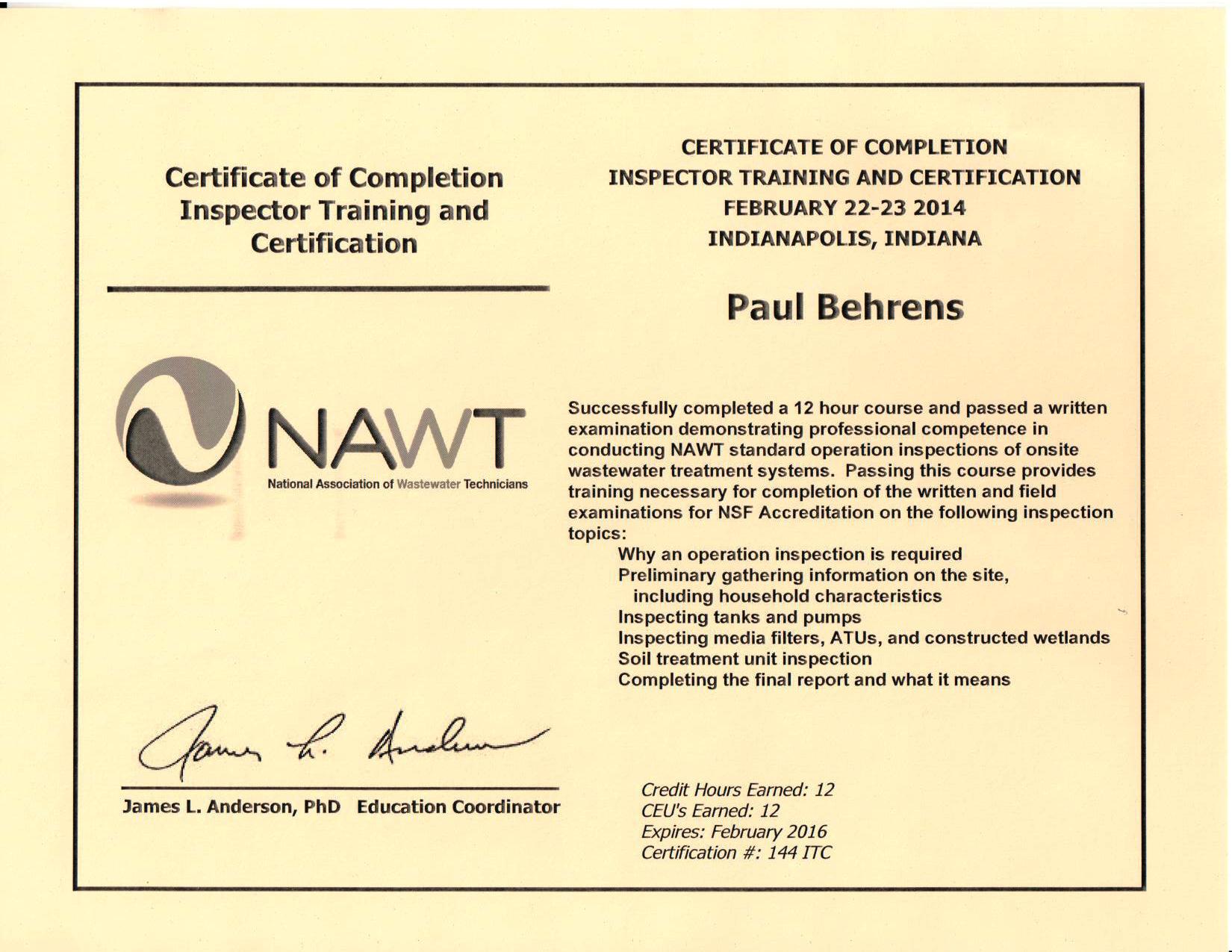 P. Behrens NAWT Inspector.Certification 2.2014