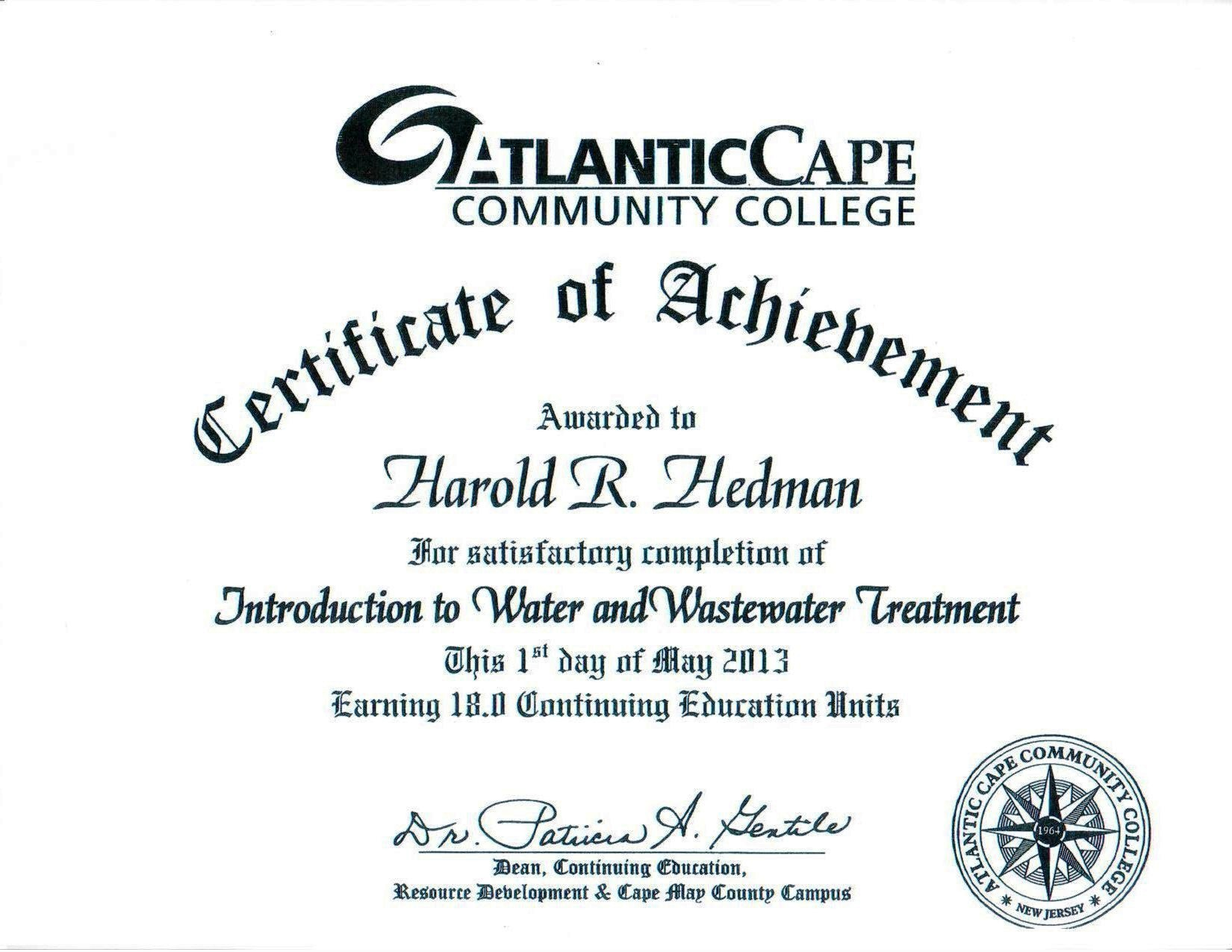 R. Hedman 5.1.13 Intro to Water & Wastewater