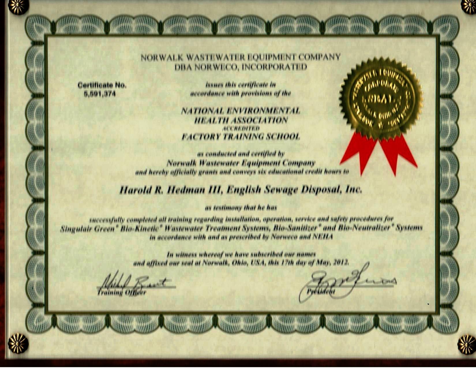 R. Hedman 5.17.12 NORWECO Certified
